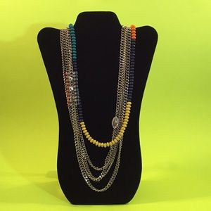 Layered Chain Gem & Bead Necklace